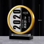 金屬圓環水晶獎座