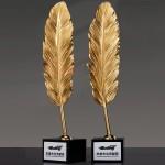 純銅一支獨秀金屬水晶獎座